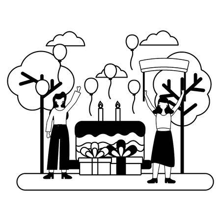 women party cake gifts birthday celebration park vector illustration Illusztráció