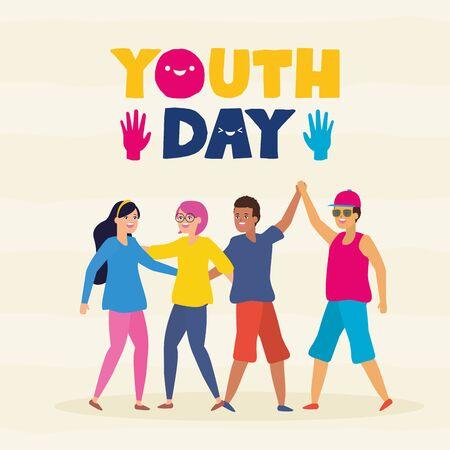 men and women happy youth day flat design vector illustration 일러스트