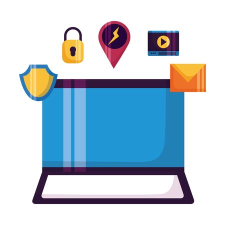 laptop computer email shield video security vector illustration
