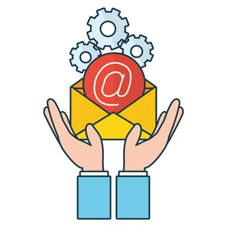hands with envelope send email gears vector illustration