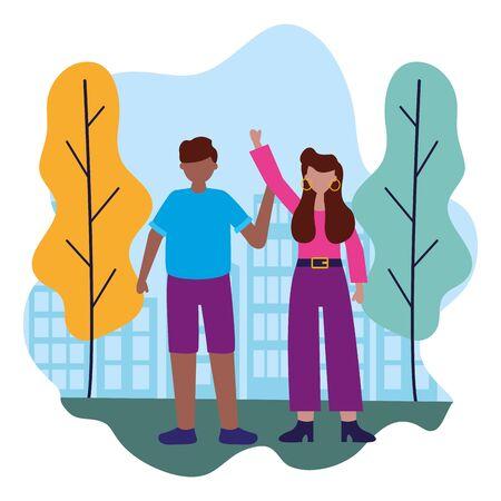 man and woman celebration city park vector illustration