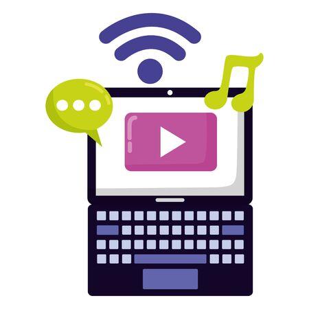 laptop social media internet chat music video vector illustration