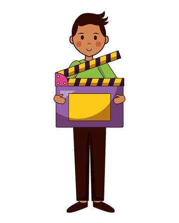 man film production clapboard movie vector illustration