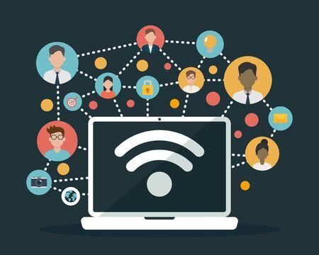 social network media people laptop connection web vector illustration 일러스트