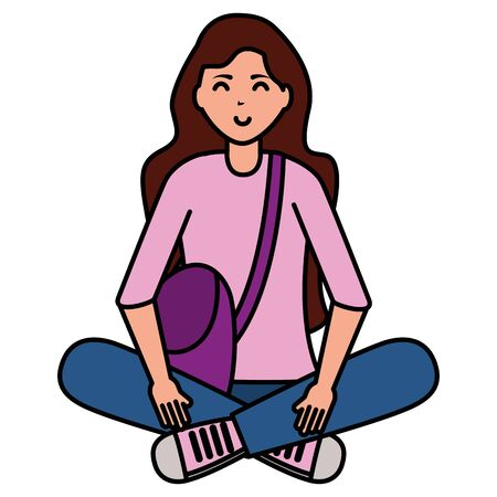 happy young woman sitting on white background vector illustration