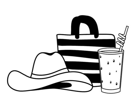 summer time holiday hat handbag and juice vector illustration