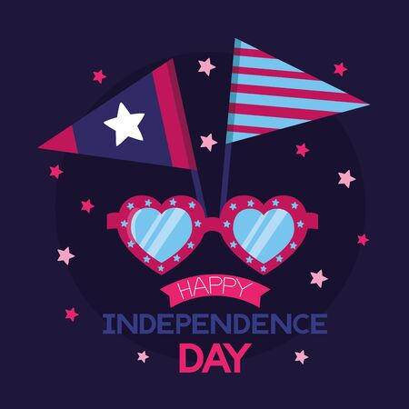 heart shaped sunglasses flags american happy independence day vector illustration Stock Illustratie