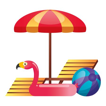 summer time holiday deck chair umbrella flamingo float and ball vector illustration