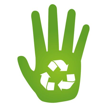 hand recycle symbol eco friendly environment vector illustration