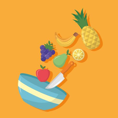bowl knife fruits sweet pineapple strawberry vector illustration Illustration