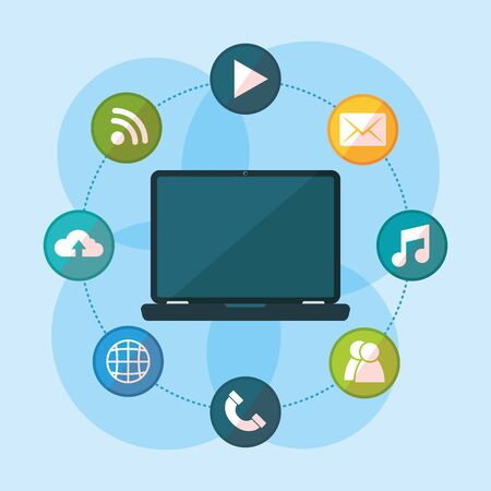 laptop communication social network media design vector illustration