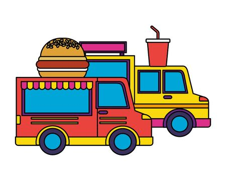 food trucks burger and soda vector illustration