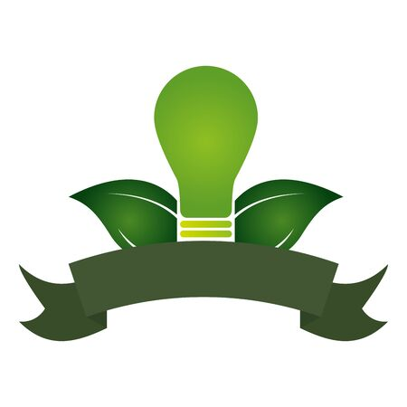 green light bulb leaves nature eco friendly environment vector illustration