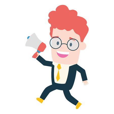 businessman holding megaphone marketing advertising vector illustration Çizim