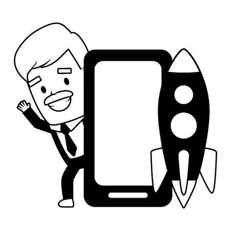 businessman smartphone startup send email vector illustration