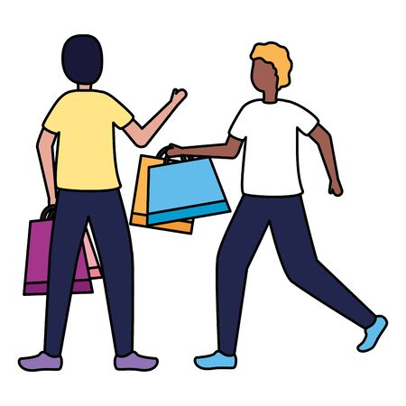 two men with shopping bags commerce vector illustration Illustration