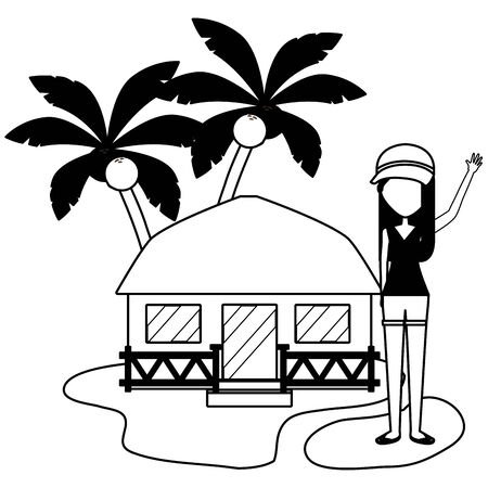 summer time holiday woman bungalow beach palm sand vector illustration Ilustração