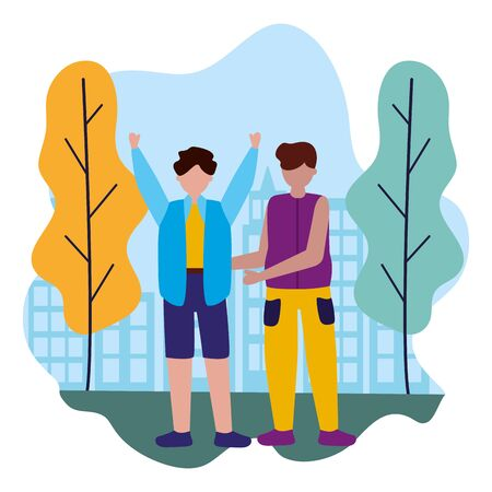two men celebrating in the city park vector illustration