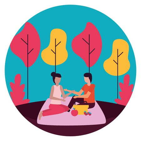 couple eating picnic romantic love flat design vector illustration 일러스트