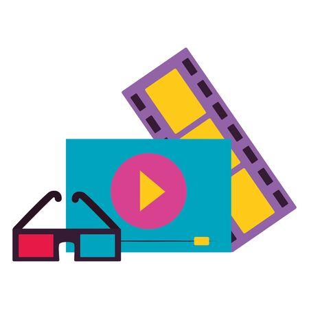 3d glasses screen strip film cinema design vector illustration