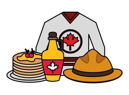 jersey hat syrup pancakes canadian flag happy canada day vector illustration