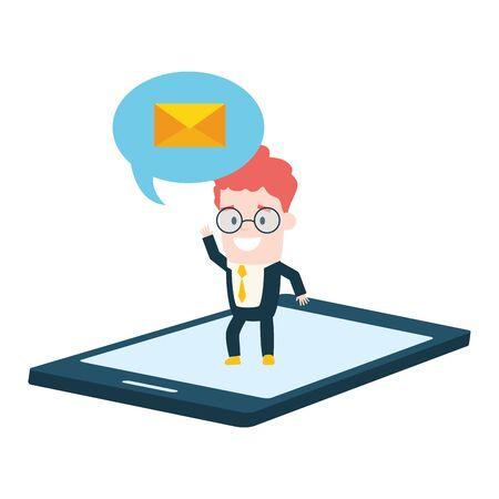 businessman smartphone talk bubble send email vector illustration