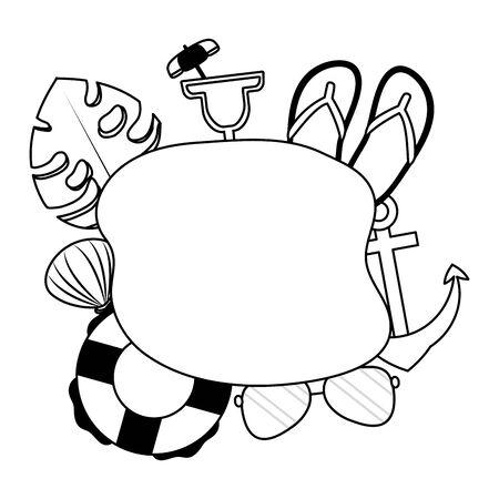 summer time holiday banner sandals cocktail sunglasses anchor leaf lifebuoy vector illustration Ilustracja