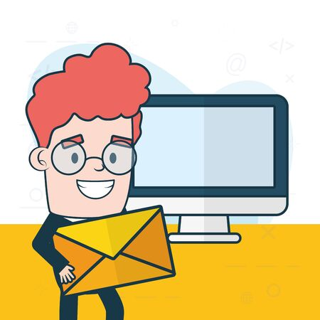 businessman with envelope computer web send email vector illustration Stock Vector - 130134658