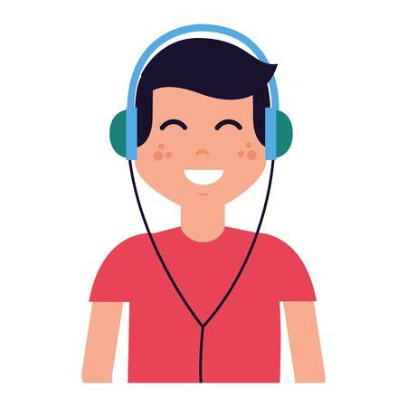 garçon avec des écouteurs, écouter de la musique vector illustration