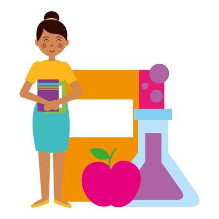 woman book apple chemistry flask teacher day vector illustration