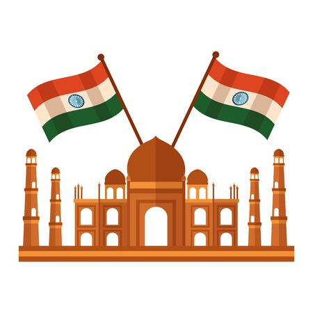 taj mahal indian mosque with flags crossed vector illustration design
