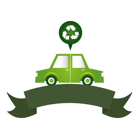 green car vehicle transport eco friendly environment vector illustration