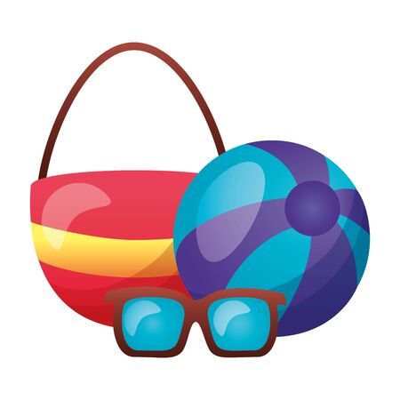 summer time holiday bag beachball and sunglasses vector illustration
