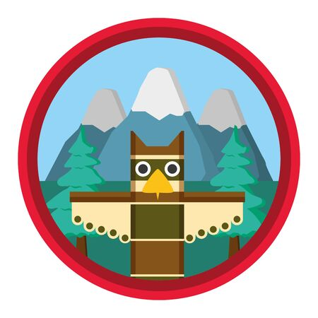 totem mountains forest badge happy canada day vector illustration