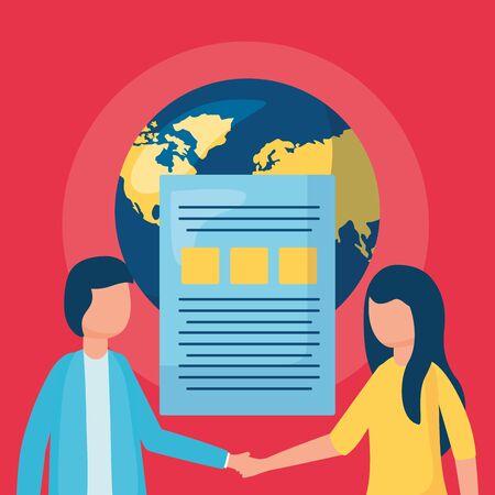 man and woman world information business handshake vector illustration  イラスト・ベクター素材