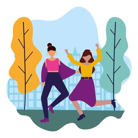 celebrating women in the city park vector illustration Ilustrace