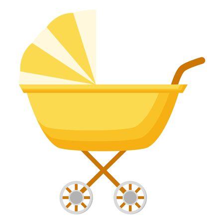 Cochecito de bebé en la ilustración de vector de fondo blanco Ilustración de vector