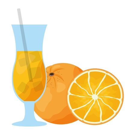 tropical fruits orange and juice vector illustration