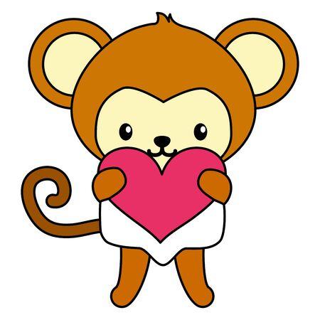 cute little monkey with heart baby character vector illustration design Иллюстрация