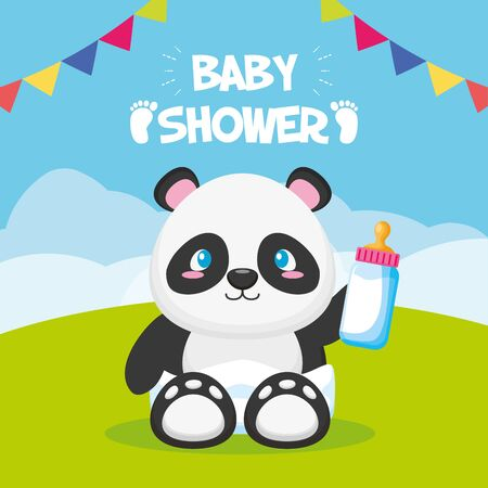 panda with bottle baby shower card vector illustration