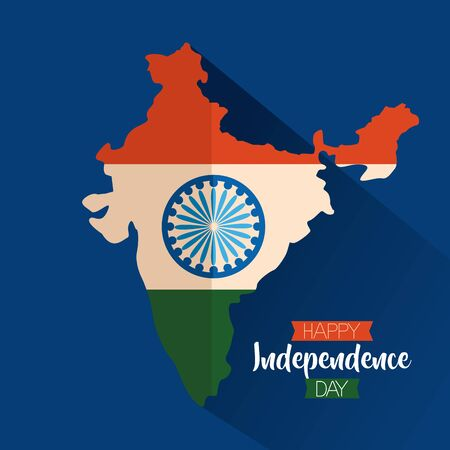 happy independence day india map flag and ashoka wheel vector illustration