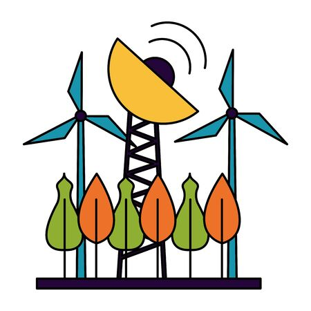 renewable energy antenna tree forest vector illustration Archivio Fotografico - 130134346