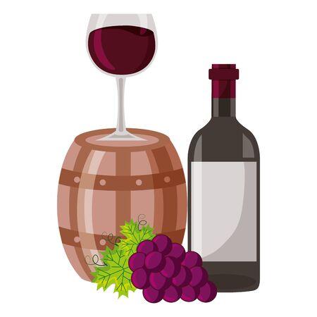Ilustración de vector de copa de botella de barril de vino y uvas