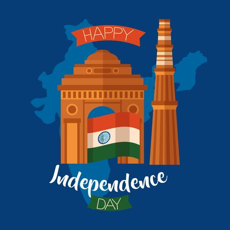 happy independence day india landmark temple flag vector illustration