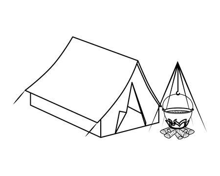 tenda da campeggio con fuoco di legna icone illustrazione vettoriale design