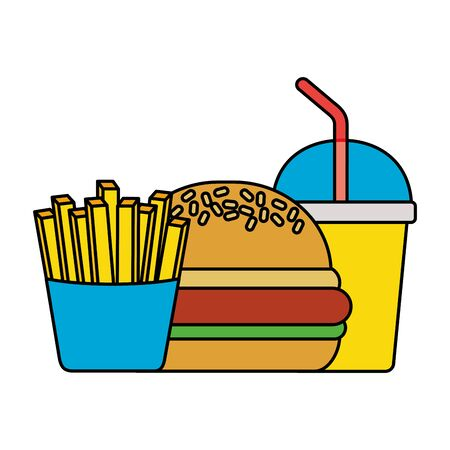 fast food burger soda and french fries vector illustration