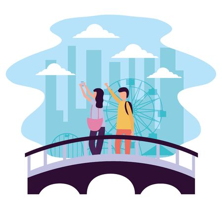 man and woman taking selfie in the bridge city park activities outdoors vector illustration
