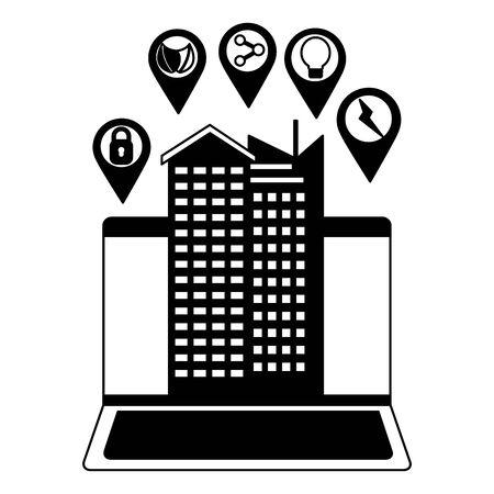 smart city laptop technology futuristic vector illustration Illustration