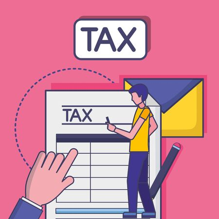 Avatar man with tax design, Money finance accounting commerce market payment and government theme Vector illustration