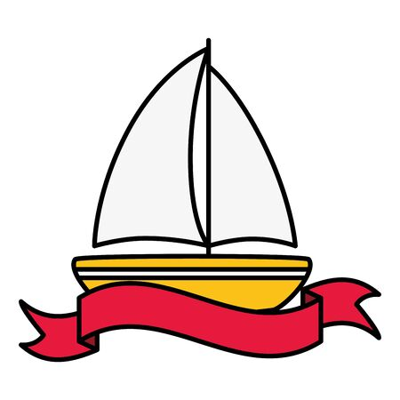summer time poster sailing boat vector illustration